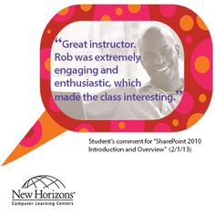 Student feedback from our SharePoint class last week.