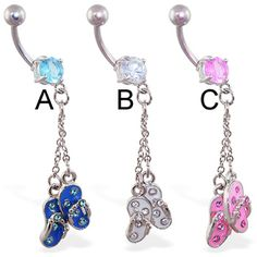 Belly ring with flipflop and chain dangle.  #accessories #bodyjewelry #piercing…