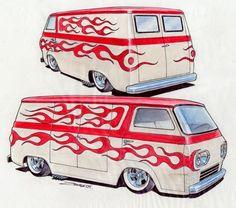 And if he had a vette, it might look something like this. Custom Chevy Trucks, Custom Cars, Vintage Vans, Vintage Trucks, Caricatures, Cool Car Drawings, Motorcycle Paint Jobs, Harley Davidson Art, Cool Vans