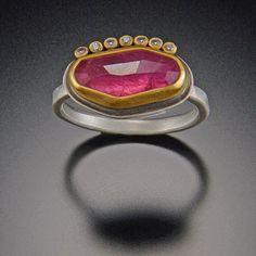 Pink Sapphire Ring with Diamond Dot Line | Ananda Khalsa Jewelry   $1,440.00