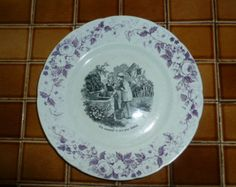 Antique FrenchTransferware, Lavender Floral Trim with Flowers and Black Transferware Center,Niderviller