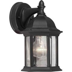 Illumine 1-Light Outdoor Black Lantern with Clear Beveled Glass Panels-CLI-FRT1776-01-04 at The Home Depot