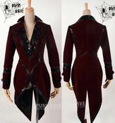 Punk goth Rock Kera visual kei palace red swallowtail coat blazer jacket size S Gothic Coat, Gothic Lolita, Punk Rave, Punk Goth, Red Velvet Jacket, Business Outfits, Visual Kei, Comfortable Outfits, Blazer Jacket