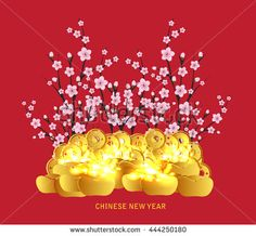 Chinese Lunar New Year Blossom Gold Stock Vector (Royalty Free) 444250180 Chinese New Year Pictures, Happy Chinese New Year, Happy New Year, Shanghai Night, Gold Stock, New Year 2017, Lunar New, Paper Cutting, Bowser