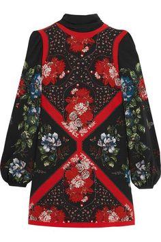 Alexander McQueen - Printed Silk Crepe De Chine Mini Dress - Black - IT40