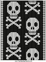 free-beading-pattern-guitar-strap-black-skulls-wide