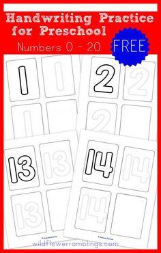 Preschool Handwriting Practice - Numbers {free printable} - Wildflower Ramblings