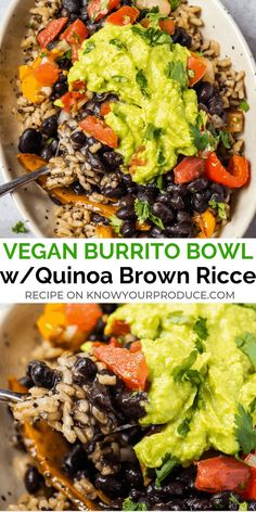 ad vegan burrito bowl or vegan burritos with quinoa brown rice pico de gallo guacamole and roasted peppers and onions 572309065146683439 Healthy Recipes, Mexican Food Recipes, Whole Food Recipes, Vegetarian Recipes, Vegan Quinoa Recipes, Recipes For Vegetarians, Vegan Brown Rice Recipes, Brown Rice And Quinoa Recipe, Healthy Black Bean Recipes