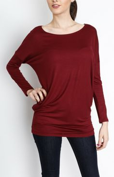 Wine Woven Long Sleeve Top -#WholesaleTops, #Casual #DayTops, #Solid, #Dressy #Chic #Trendy, #Spring #SpringWear, #CloseoutTops