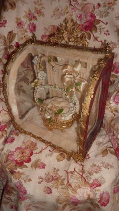 Unusual antique French wedding display casket / vitrine basket cushion crown