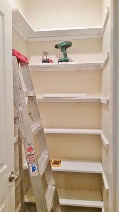 Attractive Pantry Redesign, Pantry Makeover, Installing Wood Shelving