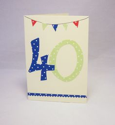 40th birthday card,male 40th card, 40th card, male 40 card, 40th birthday, 40 number card, special birthday card, male birthday by QuillPaperScissors on Etsy