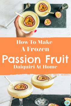 Easy passion fruit daiquiri recipe to make at home for summer parties and drinks. Cocktails To Make At Home, Cocktails For Parties, Frozen Cocktails, Winter Cocktails, Refreshing Cocktails, Easy Cocktails, Summer Parties, Drinks, Daiquiri Cocktail