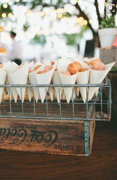 Donut holes in paper cones