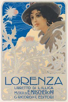 Italian Designer Unknown, ca. 1899, Opera Lorenza, Booklet I. Illica, Music by Edoardo Mascheroni, Printed by G. Ricordi & C., Milan, 70x48 1/4 cm. #Stile #Liberty #Italian #ArtNouveau