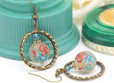 Hoop Earrings, Floral Earrings, Pretty Gifts, Turquoise Earrings, Lily Earrings, Unique Earrings, Unusual Earrings, Orange Earrings, Aqua