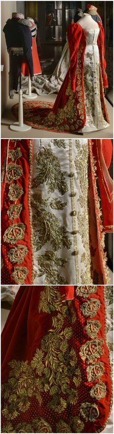 Ceremonial court dress of a maid of honor to the Empress of Russia, St, Petersburg, 1830s. Velvet, silk, metallic thread, gold embroidery. State Hermitage Museum, via http://www.hermitage.guide/costume/costume1.html. CLICK FOR LARGE, HIR-RES IMAGES.