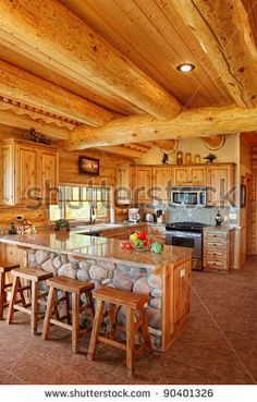 log cabin interiors | The Interior Of A Modern Log Cabin Stock Photo 90401326 : Shutterstock