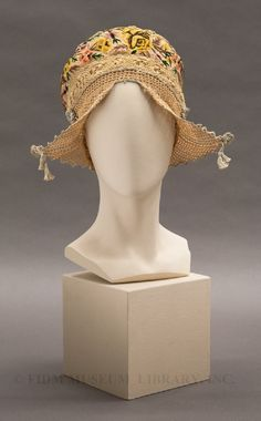 Cap:	1913 - 1917 Material	Crocheted cotton, silk georgette & embroidery floss