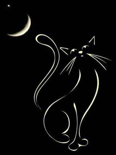 16 ideas for cats pictures night Tattoo Chat, Cat Tattoo, Tattoo Drawings, Cat Doodle, Black Cat Art, Black Cats, Cat Silhouette, Cat Crafts, Chalkboard Art