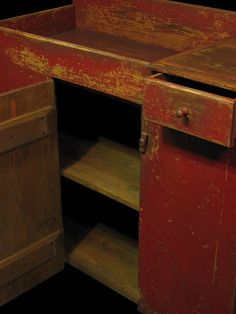 "A dry sink.fun to see inside and mentally ""visualize"" how you would prim it! An ideal aged color! It will be perfect for someone! Primitive Cabinets, Primitive Furniture, Primitive Antiques, Country Primitive, Antique Furniture, Painted Furniture, Primitive Decor, Primitive Bedroom, Primitive Homes"