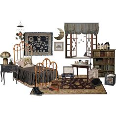 Wednesday Addam's Room by technicolor-girl on Polyvore featuring interior, interiors, interior design, home, home decor, interior decorating, Market, PATCH NYC, Pier 1 Imports and Dr. Martens