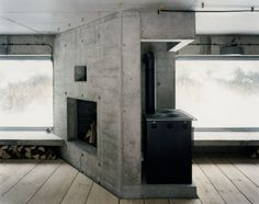 Concrete and Wood, love this combination.