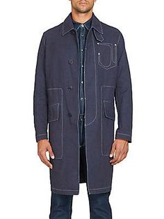 Givenchy Stitched Cotton Car Coat - Navy - Size 5