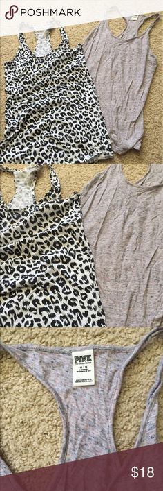 2 Vic secret racerback tops Set of 2 tops - barely worn, like new condition - perfect for summer PINK Victoria's Secret Tops Tank Tops