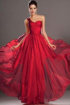 Red Long Chiffon One Shoulder Prom Dress