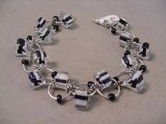 Black and White Furnace Glass Bracelet Round by Magicclosetbling