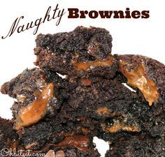 1 Box of your fave Brownie Mix 25 Kraft Caramels..unwrapped 2 tbsp. Bourbon..(Naughty) OR Milk..(Nice)  Read more at http://www.ohbiteit.com/2013/06/naughty-brownies.html#IrRU5Fab8cASLFGR.99