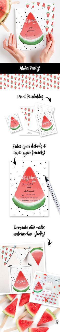 Fruity watermelon theme party! – Hier findest du Printable-Deko, -Einladungen etc. für eine schöne Sommerparty! Schnell & einfach selbstgemacht! ▶︎ www.printityourself.de