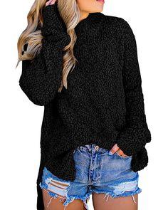 Imily Bela Womens Fuzzy Knitted Sweater Sherpa Fleece Side Slit Full Sleeve  Jumper Outwears Black 9a04301c4