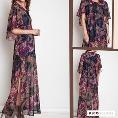 Angel Maxi dress Fully lined body with sheer angel wing sleeves. Lace up bust area. Tie in back to adjust fit. Has small feathers at end of ties. This is the perfect maxi for the bohemian wedding season.   PRICE FIRM UNLESS BUNDLED Boutique Dresses Maxi