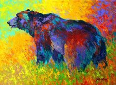 Into The Wind - Grizzly Bear by Marion Rose Acrylic ~ 18 x 24
