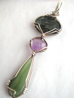 Multi Stone Pendant, Jade and Amethyst Pendant in Oxidized Sterling Silver, Wire Wrapped Jewelry Handmade, Large Pendant. $68.00, via Etsy.