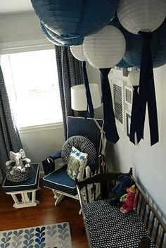 Baby Stroller's Navy and White Elephant Nursery with paper lanterns - Hello Bee Navy Blue Nursery, White Nursery, Nursery Neutral, Nursery Room, Bedroom, Baby Boy Rooms, Baby Boy Nurseries, Baby Room, Mobiles