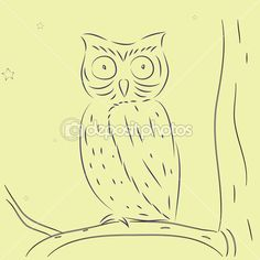 Hand draw owl on tree