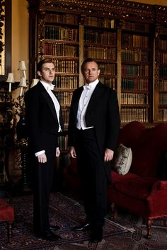 The Earl of Grantham with future son-in-law Matthew Crawley (played by actor Dan Stevens) at Highclere