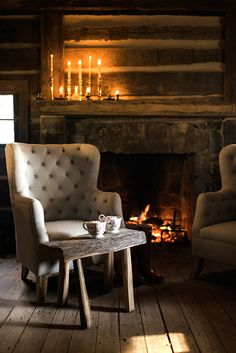 Check out the rustic elegance of this entertaining inspiration. You will want to gather your friends and curl up by the fire with your favorite Nespresso.