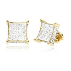 0.34 CT, White Round Brilliant cut Diamond Micro-pave Setting 3D Square Men's Stud Earrings in 10K Yellow Gold... for only $343.00 You save: $573.00 (63%)