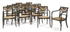 A set of twelve Regency parcel-gilt grain-painted caned armchairs Circa 1810