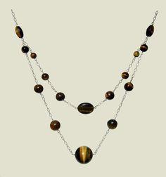 Tiger Eye Necklace, Round Rice Necklace, Oval Necklace,  Brown Necklace, 925 Silver Necklace, Handmade, Natural Stones Necklace, Capricorn de ArtGemStones en Etsy