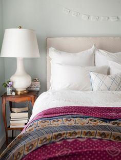 guest room color idea. light blue wall, white linens, contrast duvet or quilt