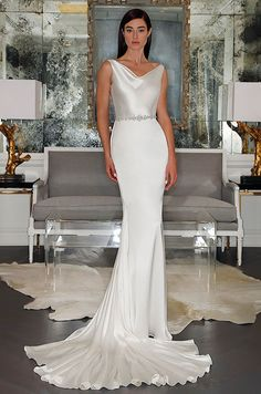 A simple elegant wedding dress by Romona Keveza Collection, Fall 2015