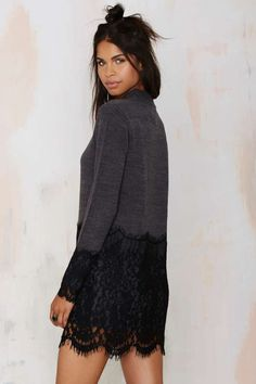 Dear Prudence Lace Sweater Dress - Gray - Day
