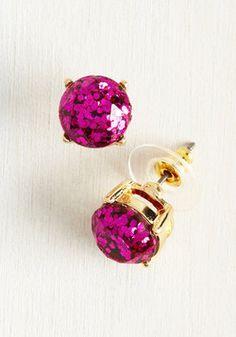 Glitter and Glee Earrings in Fuchsia
