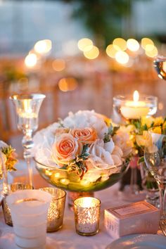 centerpiece with different size candles