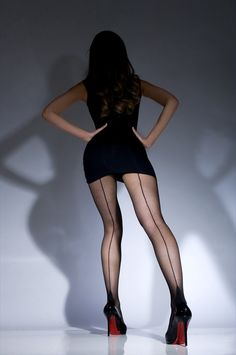 Black Vintage Back Seamed Stockings with Cuban Heel as featured in the Great Gatsby